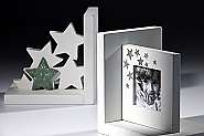 bookends white printed wood with glitter stones size 16x16x12 cm