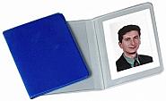 Identiteit fotopochetten in blauwe plastiek  (100)(400)