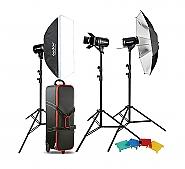 Kit Godox 3 studioflitsen 300ws E-300 + accesoires