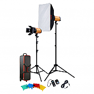 Kit Godox 2 flashes 300ws + accesories + koffer