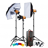 Kit Godox 3 flashes 300ws + accesories + bag