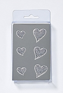 6 Magnets, hearts, silver/glittering