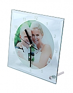 Glazen klok vierkant 20cm + mechanisme