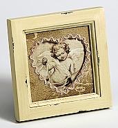 Angel portrait frame, 10x10 cm, beige