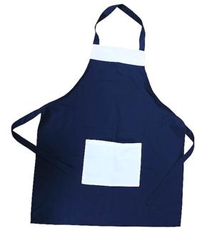 Blauwe schort met witte zak (10)