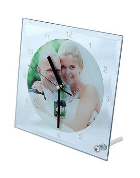 Glazen klok vierkant 20cm + mechanisme (2)