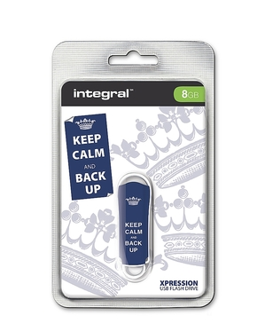 Integral 8GB Xpression USB Flash Drive Keep Calm Blue